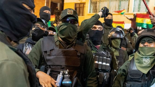 Bolivian police join protests against President Morales