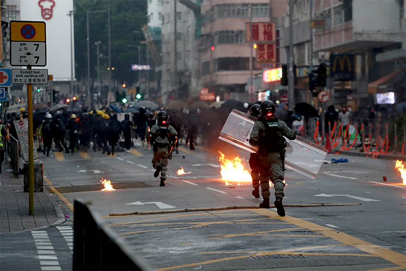 Streets of Hong Kong become protest battlefield on China National Day