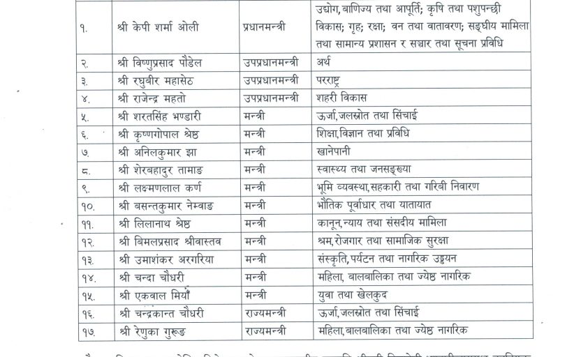 PM Oli brings massive reshuffle in his cabinet, Paudel, Mahato and Mahaseth sworn in as Deputy Prime Ministers