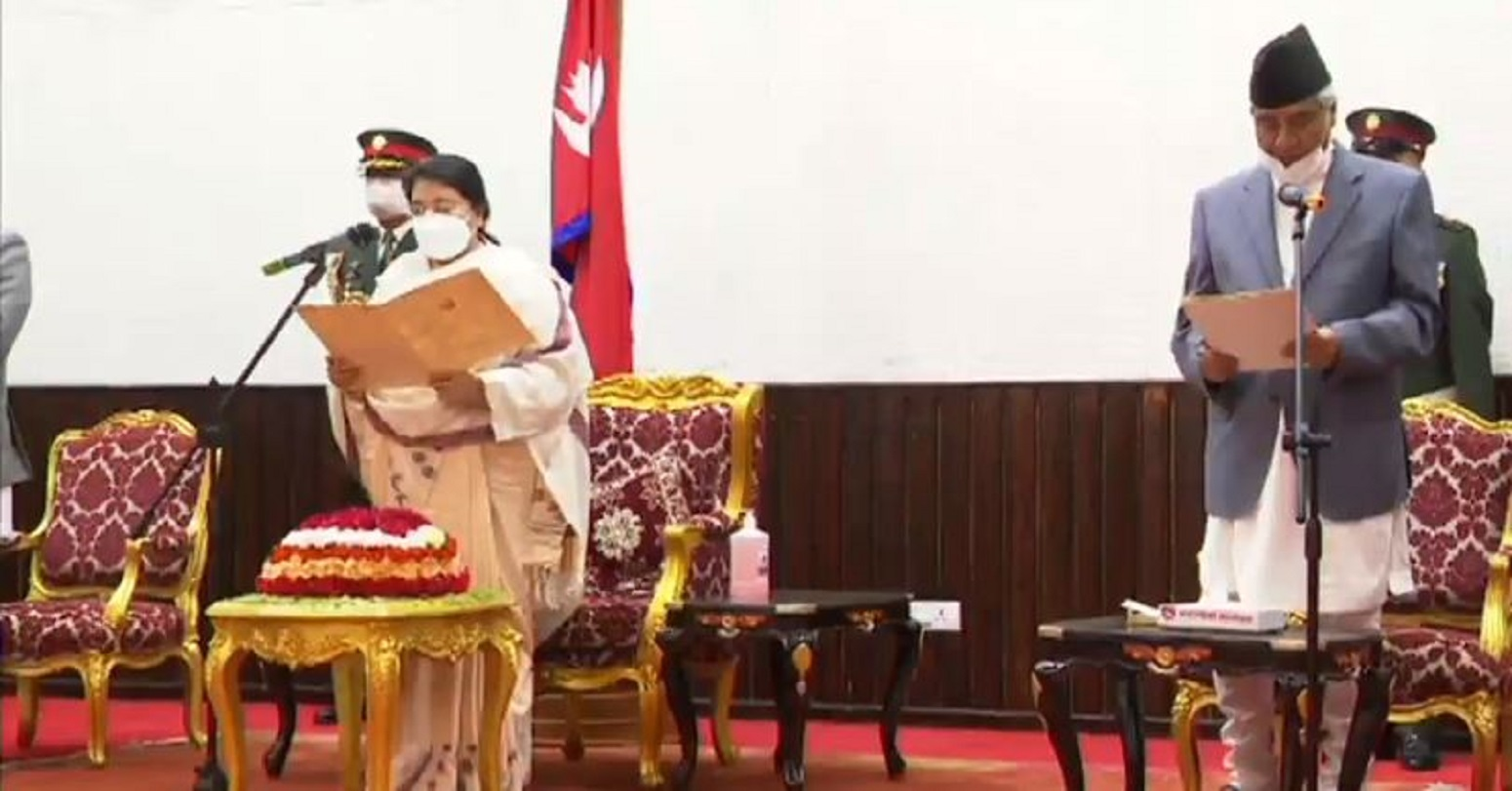 President revises appointment notice, PM Deuba takes oath of office